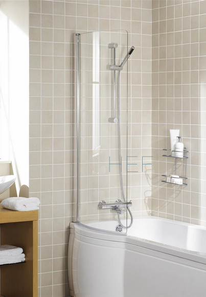 P shaped shower bath screen