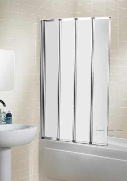 Folding 4 panel straight shower bath screen silver